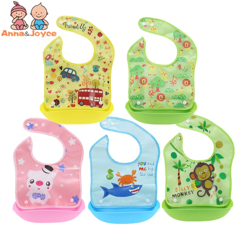 10pc/lo Baby Bibs Waterproof Baby Aprons Bib Infant Saliva Towels Cute Baby Cartoon Bib Baby Slabbetjes Plastic EVA Baberos Bebe