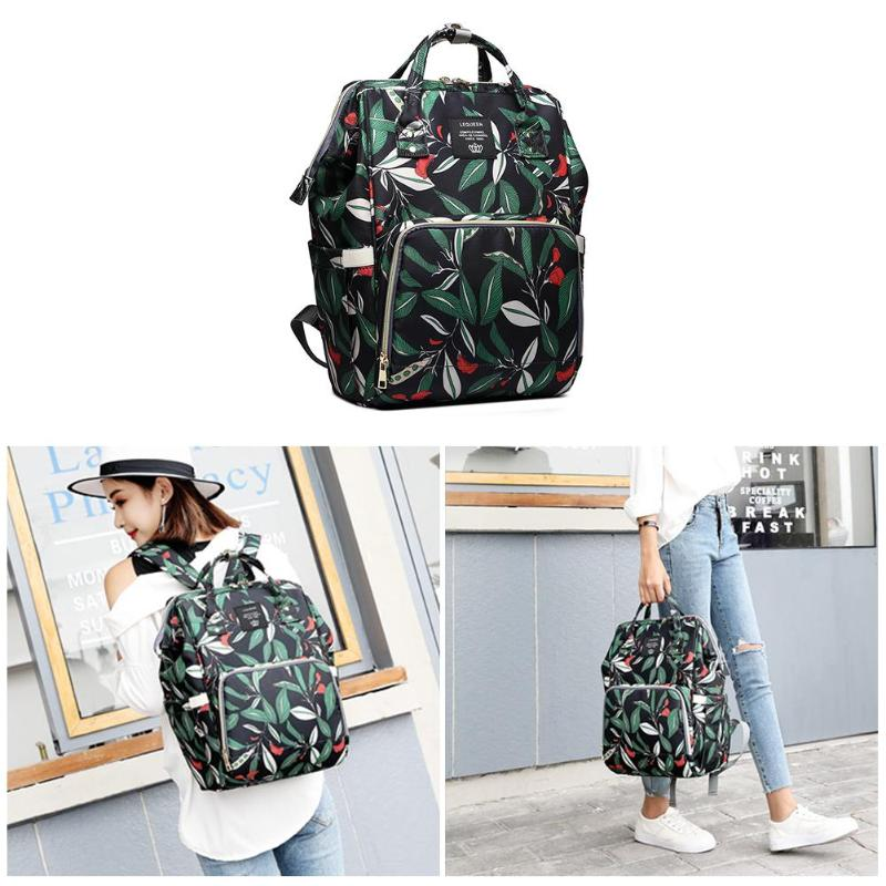 Lequeen fresh Leaf Mummy Maternity Napyy Bag Fashion Mummy Maternity Diaper Bags Leaves Print Large Capacity  Mother Baby Diaper
