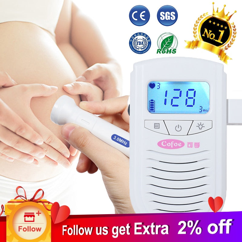 Cofoe Fetal Doppler Ultrasound Heartbeat Detector Portable Pregnant Baby Heart Rate Monitor LCD 3.0MHz Pocket Vascular Doppler
