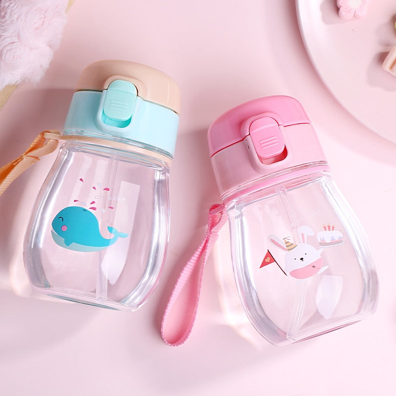 350ml Toddler Infant Water Bottle Kids Baby Feeding Cup Cute Cartoon Printed Tritan+Safe PP Lovely Baby Water Cup With 2 Lids