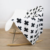 White Cross Print Blanket