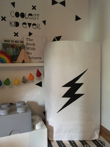 Lightening Bolt Paper Storage Bag