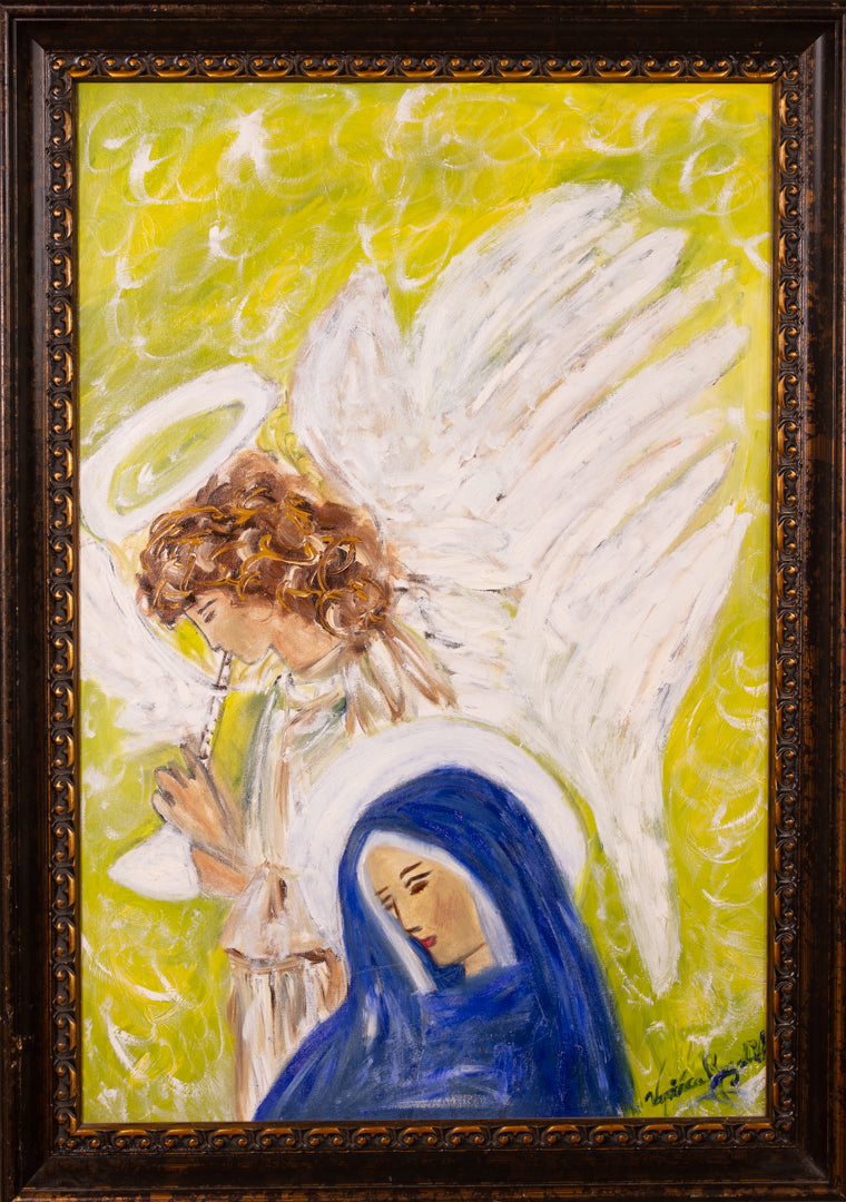 Angel St Gabriel and Holly Virigin Mary