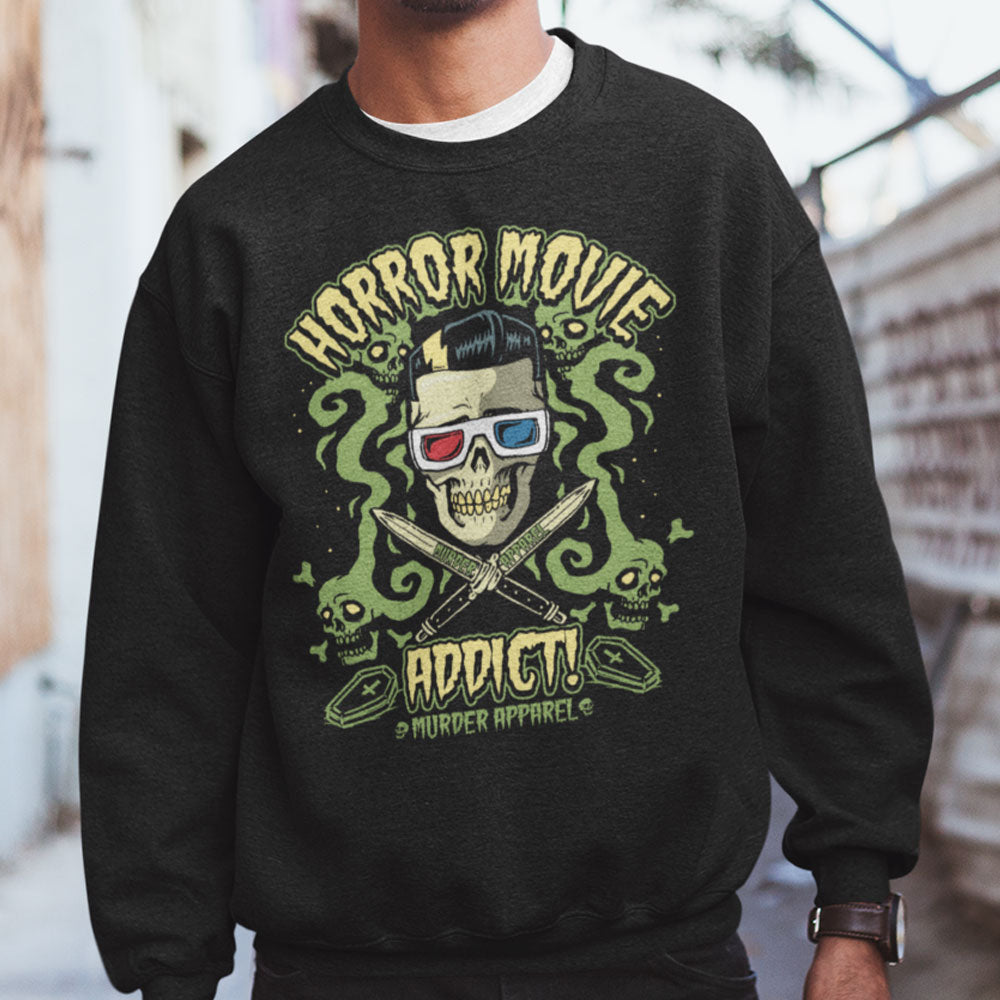 Horror Movie Addict Sweatshirt - Murder Apparel