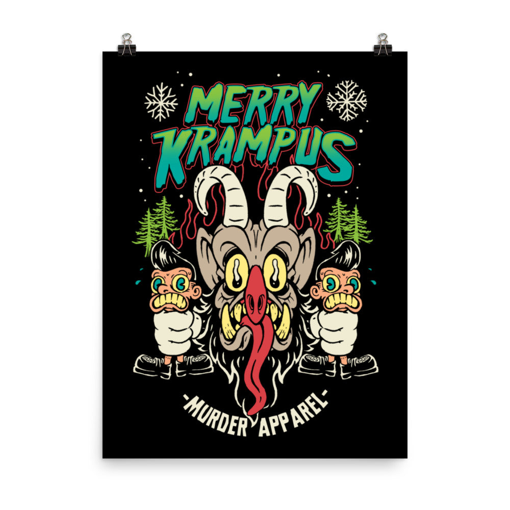 Merry Krampus Retro Neon Poster