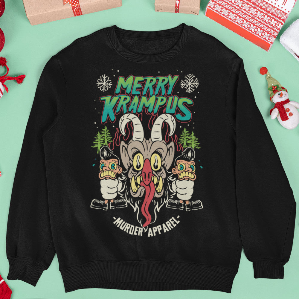 Merry Krampus Retro Neon Sweatshirt