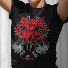Load image into Gallery viewer, Sinners Are Winners Metal T-Shirt - Murder Apparel