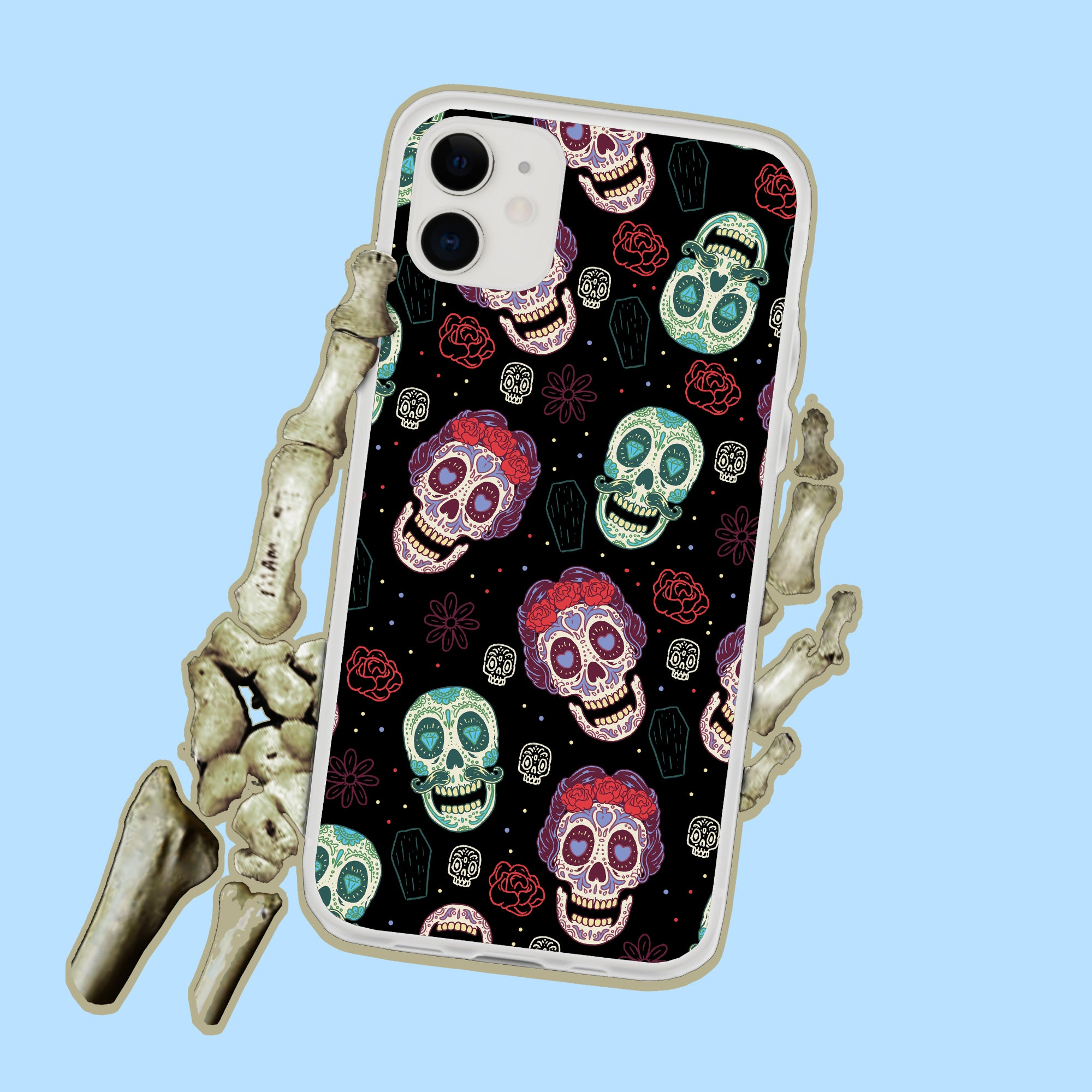 Sugar Skulls Day Of The Dead iPhone Case
