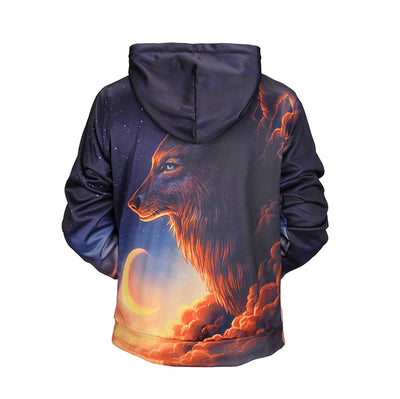 Wolf Watching over the Moon Hoodie