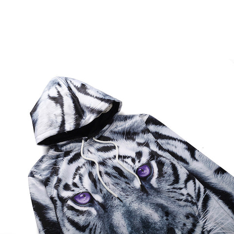 Image of Black And White Tiger Hoodie