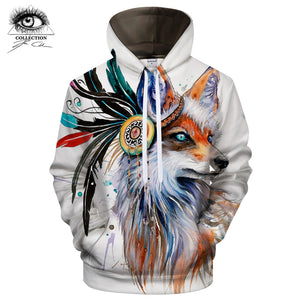 Fox with Headdress Hoodie