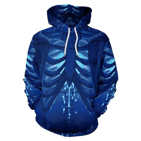 Blue Skeleton Cartoon Hoodie