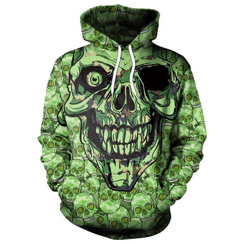Image of Scary Green Skull Hoodie