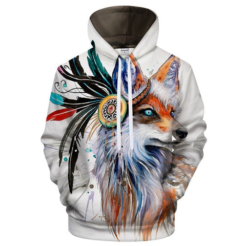 Image of Fox with Headdress Hoodie