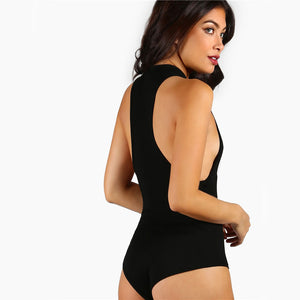 Body QUEEN noir pour femme inscription