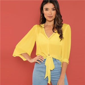 Blouse jaune noeud LAURA