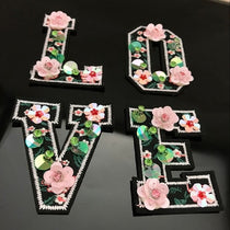 Letters Love Handmade Rhinestone beaded Patches for clothing