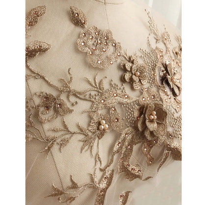 Rhinestone 3D Tulle Sewing Embroidery Applique Gold
