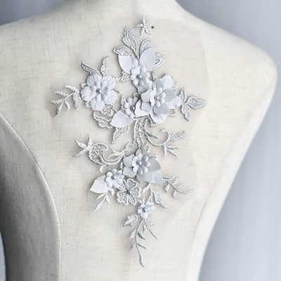 1pc 26X18cm Beaded Embroidery Lace Flower Applique