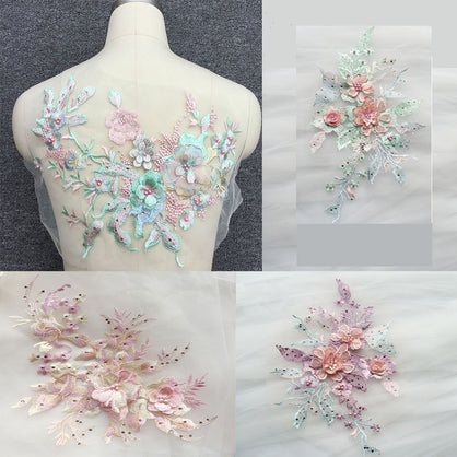 Lace Embroidery Patches Bridal Beaded Flowers Applique