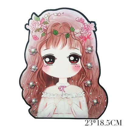 Cartoon Sew-on Printing Beads Girl Embroidery Patches Kawaii