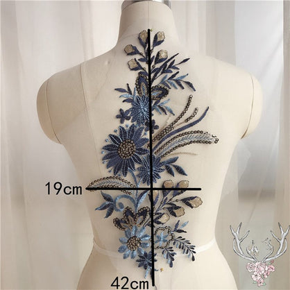 1Pcs Beaded Sequins Lace Applique Embroidery Patch