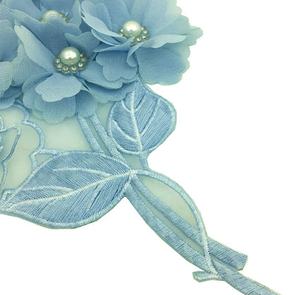 4pc 3D Hydrangea Embroidery Patch Beaded Flower Applique
