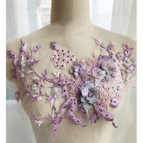 3D Floral Embroidery Applique Beaded Pearl