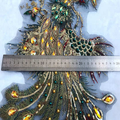 handmade Phoenix Hot drilling Rhinestone pearl lace embroidery patch applique