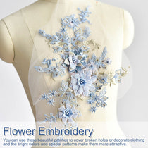 3D Embroidery Applique Handmade Beads Wedding Dress Applique