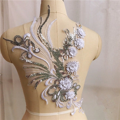 1pcs 3D Flower Embroidery Bridal Lace Applique