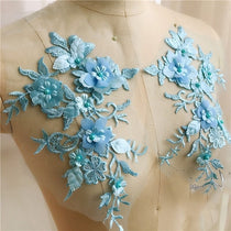 1pair Sequins Beaded 3D Flowers Patch Lace Applique