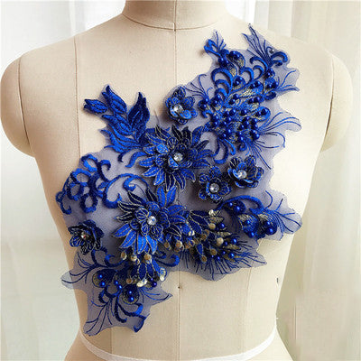 Beaded 3D Flowers Pearl Embroidery Patch Applique