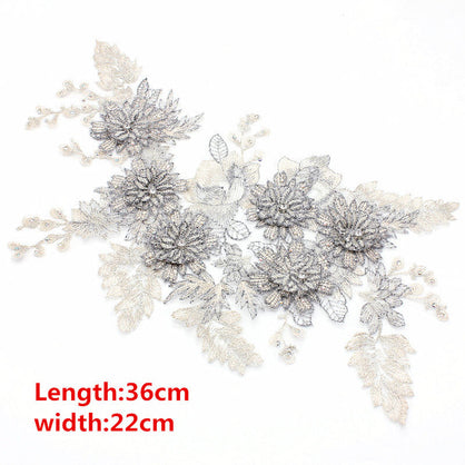 15/species Optional Embroidery lace collar pearl beads 3D flower applique wedding clothing decoration Boutonniere Patches