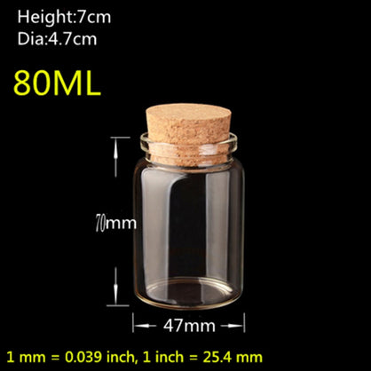20pcs/Lot Glass Bottle with Cork 80ML