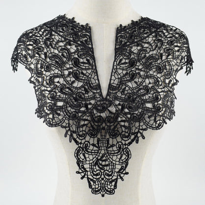 Black Flower Leaf Embroidery Collar Venise Lace