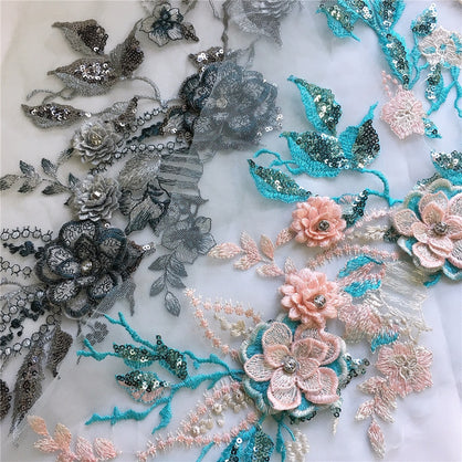 1pcs exquisite pearl beaded 3d flower lace applique with sequins