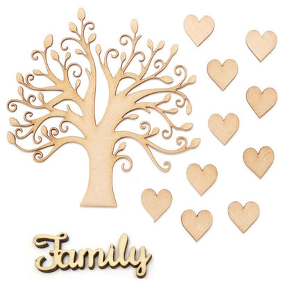 Wooden MDF Family Tree Set kit with Wooden Love Hearts Wood Craft