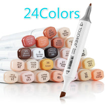 TouchNew Artist Marker Pens 24 Colours Blendable Alcohol Brush Pen Skin Tone Set