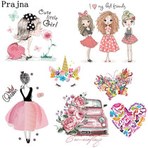 Prajna Fashion Girl Unicorn Iron-On Transfers