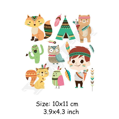 Heat Transfer Patches Cute Animals Set Iron-on