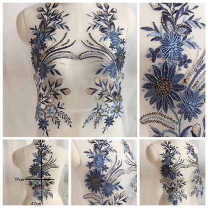 1pcs Beautiful Beaded Sequins Lace Embroidery Applique