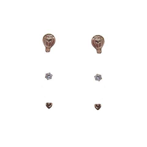 3pk Love Lift Signature Earring Rose Gold