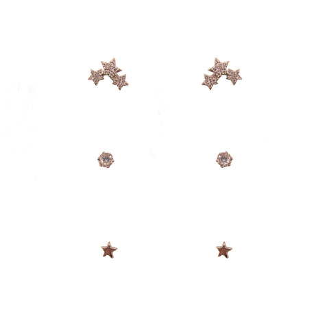3pk Love Lift Star Earring Rose Gold