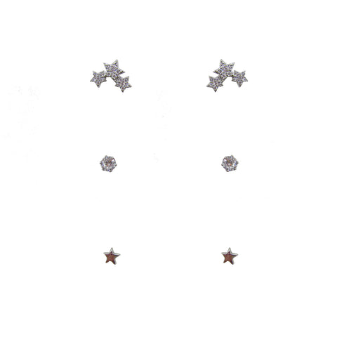 3pk Love Lift Star Earring Silver