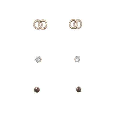 3pk Love Lift Double Circle Earring Rose Gold