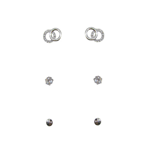 3pk Love Lift Double Circle Earring Silver