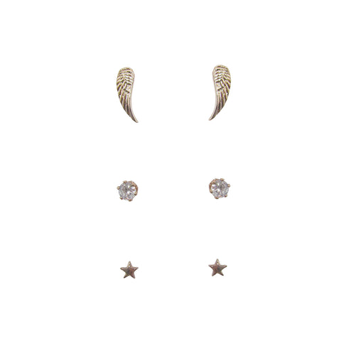 3pk Love Lift Angel Wing Earring Rose Gold