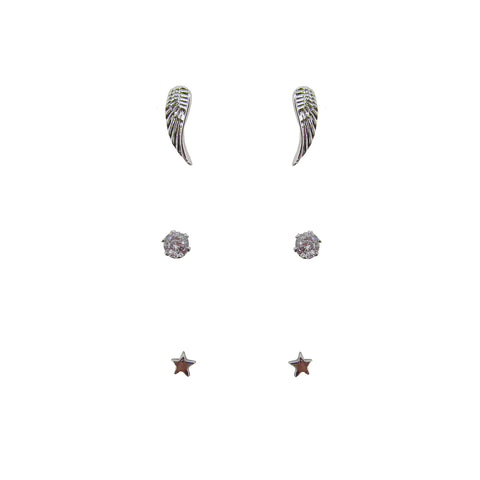 3pk Love Lift Angel Wing Earring Silver