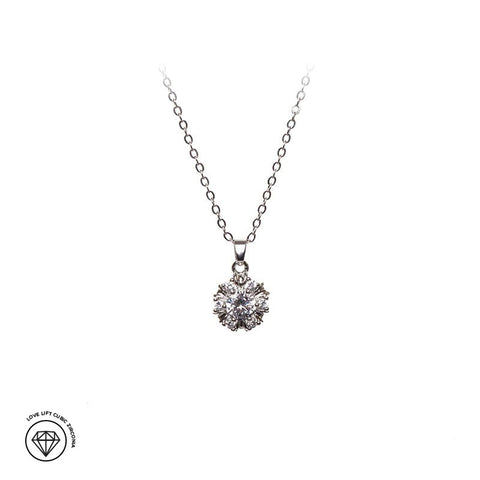 Love Lift Cubic Zirconia Pendant Necklace Silver